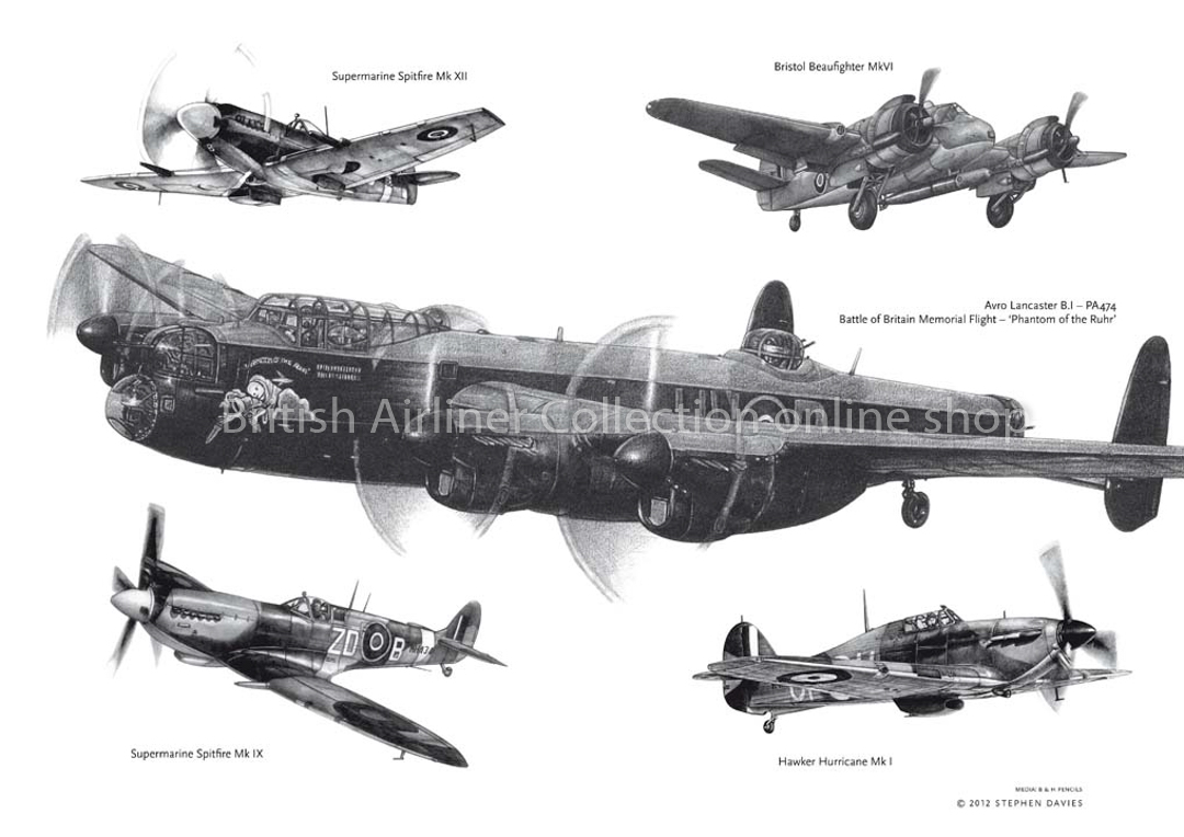 Lancaster, Spitfires, Hurricane and Beaufighter